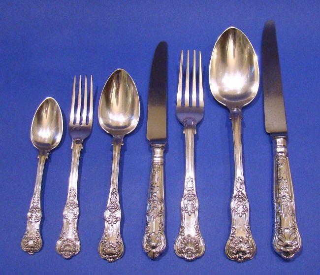 william iv antique silver 84 piece queens pattern cutlery. Black Bedroom Furniture Sets. Home Design Ideas