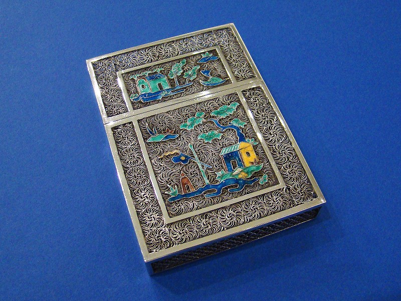 Chinese Export Antique Silver filigree & Enamel Calling Card Case ...
