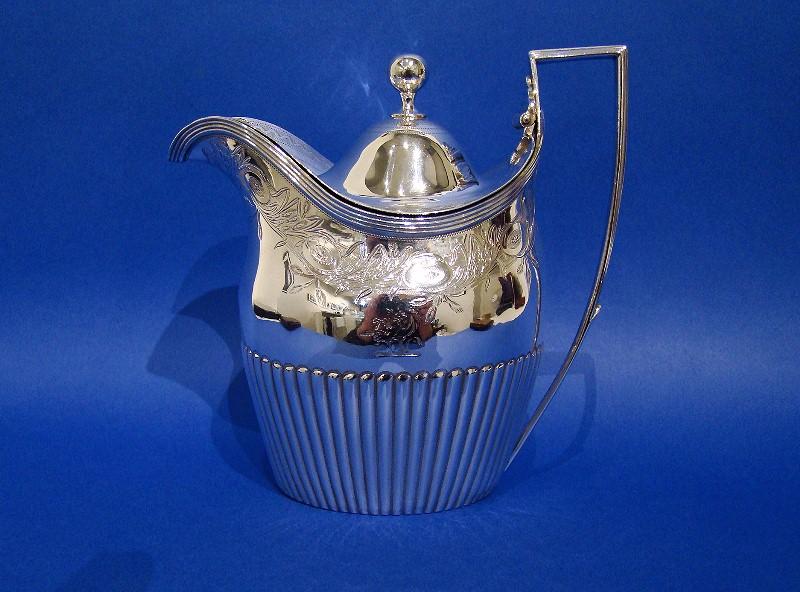 George III Silver Bright-cut Lidded Cream Jug, Made by Peter